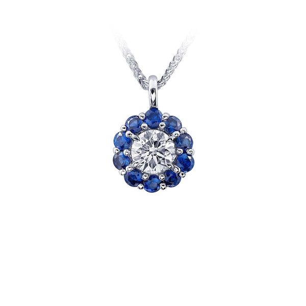 0.99 ct rd diamond and blue sapphire DIA cert halo necklace.jpg
