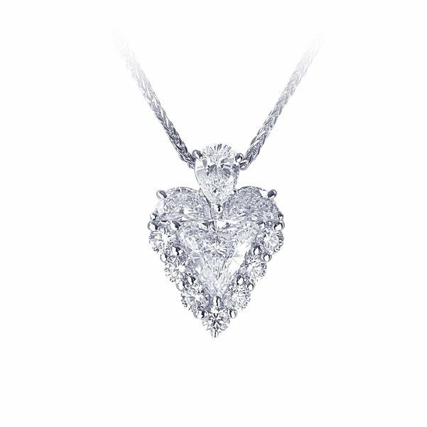 1.27 ct. GIA certified trillion diamond surrounded by half moon and round diamonds, hung by a pear shape diamond.jpg