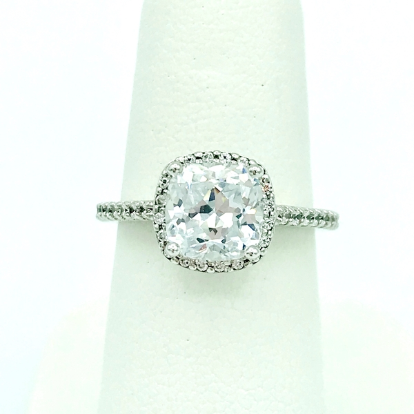 cushion cut diamond and diamond halo white gold engagement ring