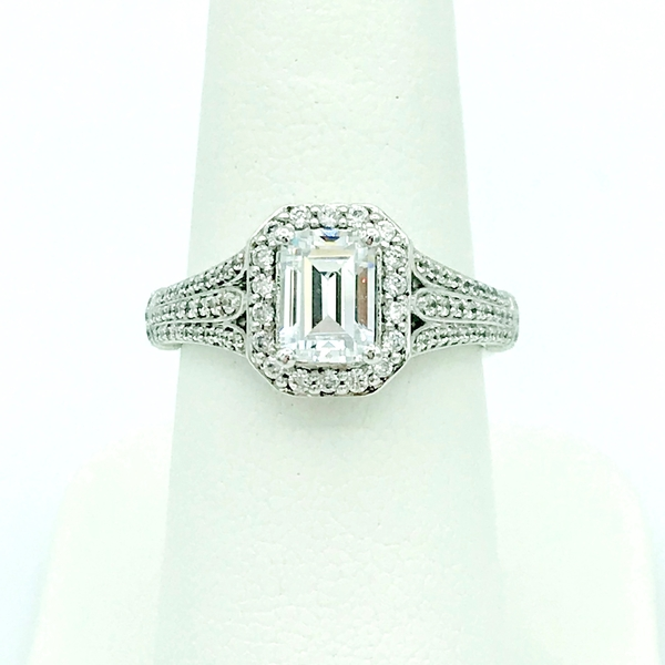 wide band emerald diamond and halo white gold wedding ring