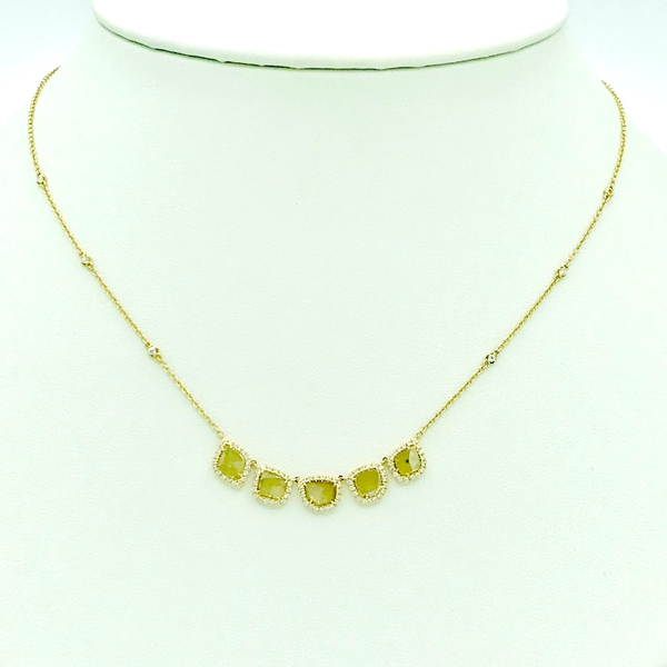 sliced diamond necklace with round cut diamond accents in yellow gold