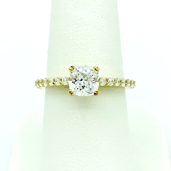 cushion cut diamond yellow gold ring with accent round brilliant cut diamonds