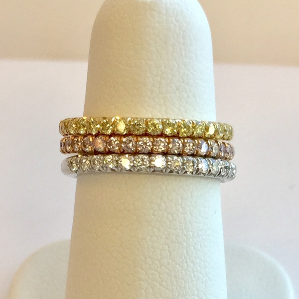 Yellow, white, and rose gold diamond bands