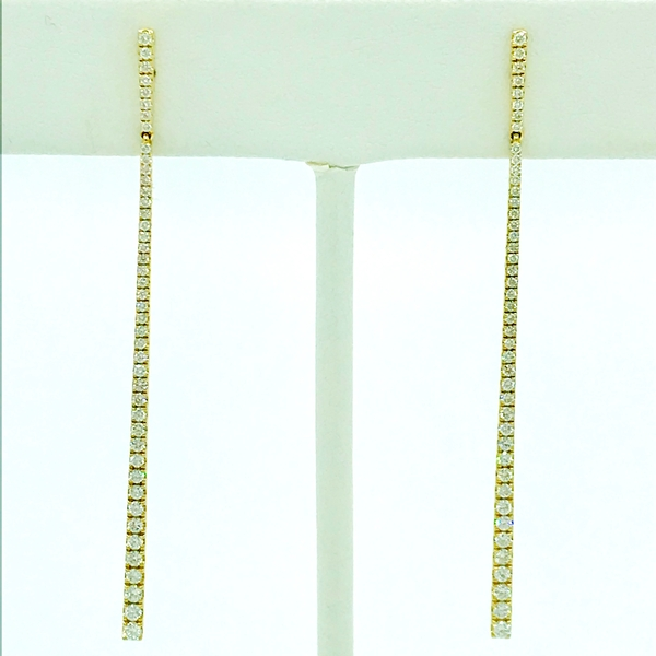 yellow gold and round brilliant cut diamond drop bar earrings