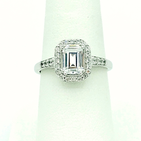 emerald diamond and halo white gold engagement ring