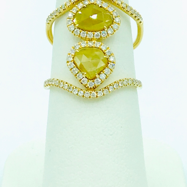sliced diamond ring with round cut diamond accents in yellow gold
