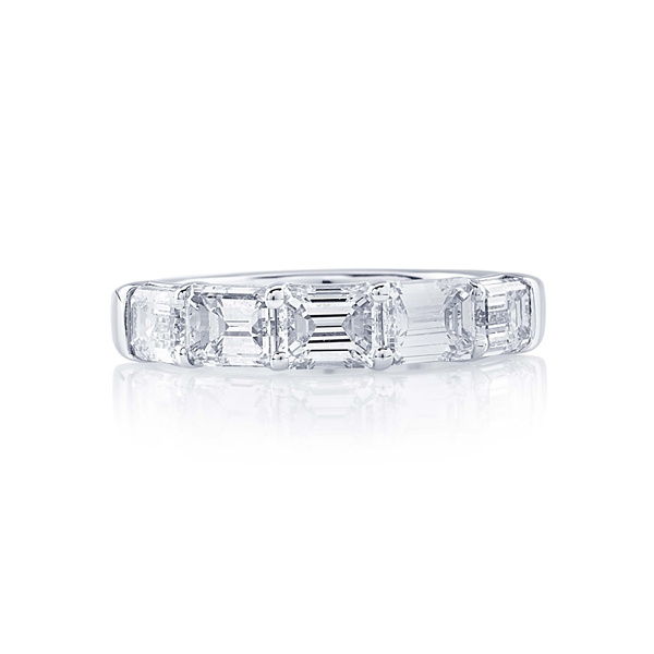 emerald cut diamond east to west platinum band.jpg