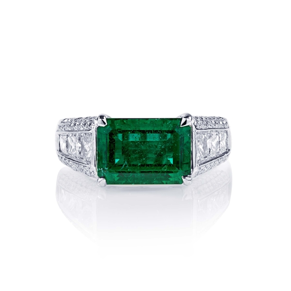 3.21 emerald cut emerald east to west pave diamond ring.jpg