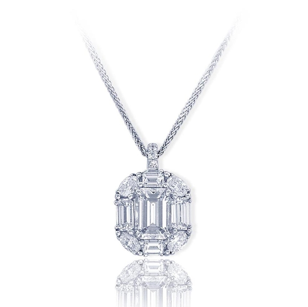 platinum pendant features an exceptional 1.84 ct. emerald cut diamond center and is embraced with emerald cut, round and oval diamonds..jpg