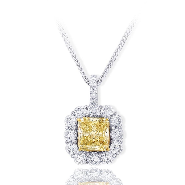 fancy light yellow diamond pendant handcrafted with a beautiful 2.12 ct. GIA certified radiant fancy light yellow diamond encircled by round diamonds.jpg