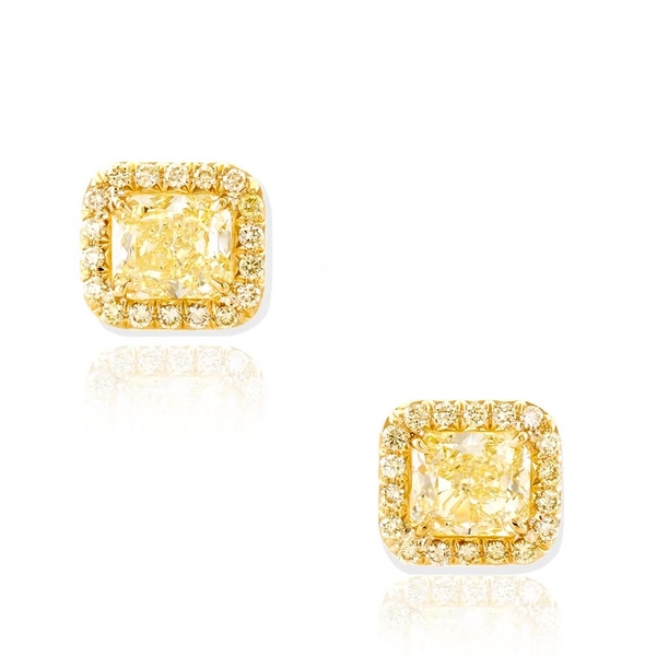 handmade in 18KY gold feature perfectly matched fancy yellow radiant-cut diamond centers edged with fancy yellow round diamond .jpg