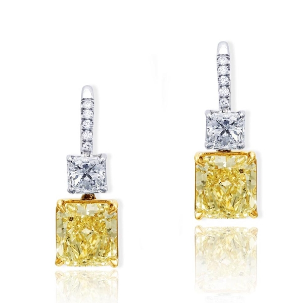 Platinum and 18KY gold fancy yellow diamond drop earrings featuring gorgeous 5.44 ct. radiant natural fancy yellow diamonds.jpg