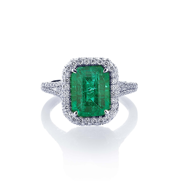 3.08 emerald cut emerald and pave halo ring.jpg