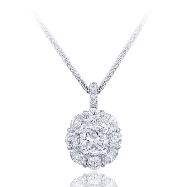 platinum and diamond pendant features a stunning 1.70 ct GIA certified cushion cut diamond center and is embraced with round and oval diamonds..jpg