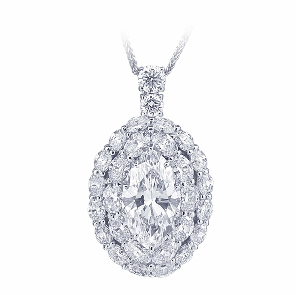 platinum and diamond pendant necklace featuring a stunning 6.34 ct. marquise diamond encircled by oval diamonds with additional round diamonds..jpg