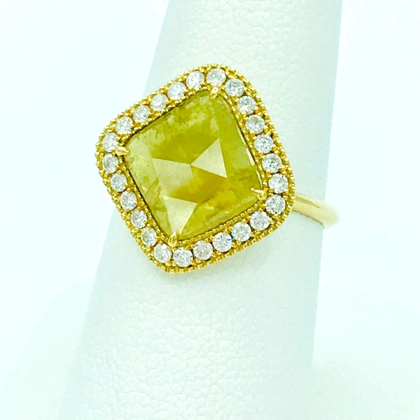sliced diamond ring with round cut diamond accents in yellow gold 2