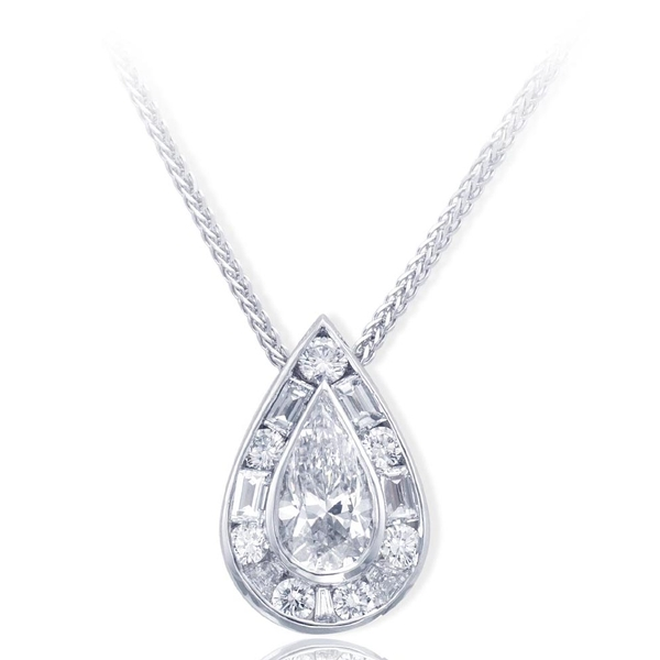 1.20 ct. GIA certified pear shape diamond center encircled with round and tapered baguette diamonds.jpg
