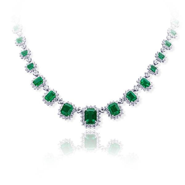 2de7ce80e679e 18.59 emerald cut emerald and halo diamond necklace.jpg - Larry & Co ...