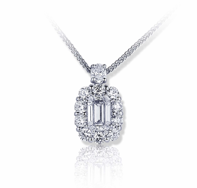 4820d378cbcd4 1.39 ct. GIA certified emerald cut diamond encircled by round ...