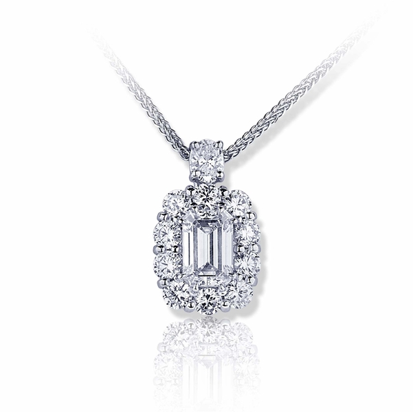 1.39 ct. GIA certified emerald cut diamond encircled by round diamonds and hung by an oval diamond.jpg