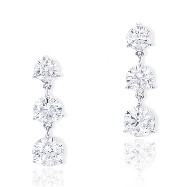 Platinum diamond earrings handcrafted with perfectly matched cascading brilliant round diamonds.jpg