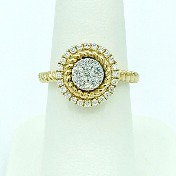 yellow gold and diamond rose ring