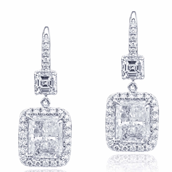 GIA certified radiant-cut diamonds edged in micro pave and hung by square emerald-cut diamonds.jpg